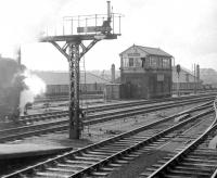 Carlisle No 4 signal box box seen looking north west from the end of platform 8 in 1967. The buildings beyond the low wall in the background stand in the ex-CR Viaduct goods yard.<br><br>[Robin Barbour Collection (Courtesy Bruce McCartney)&nbsp;//1967]