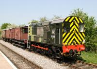 D3261 is a 1956 built BR Class 08, rescued from the Brighton Pullman sheds in 1996 and now virtually restored to full working order. Seen here doing a bit of shunting on the Swindon & Cricklade Railway in May 2011 .<br> <br><br>[Peter Todd&nbsp;/05/2011]