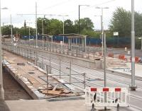 Velodrome - one of several new Metrolink stations taking shape on the route from Manchester Piccadilly out to Ashton-under-Lyne. This station will serve <I>Sport City</I> which includes the National Cycling Centre and the Manchester City Football Ground. Evening view looking east towards Ashton. <br><br>[Mark Bartlett&nbsp;12/05/2011]