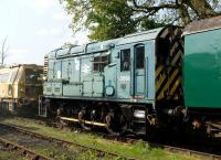 Originally built in 1959 as a class 08 locomotive, Swindon and Cricklade Railway no D3668 is actually now a class 09. Working history unknown but soon to undergo repairs to its traction motors and generator.<br> <br><br>[Peter Todd&nbsp;/05/2011]