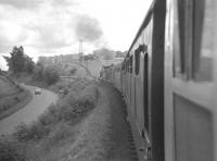 The RCTS <I>Borders Railtour</I> of 9 July 1961, hauled by NBR 256 Glen Douglas and J37 64624, returning from a visit to Greenlaw. The photograph was taken just west of Earlston heading for St Boswells [see image 31691], with the A68 road on the left.<br><br>[K A Gray&nbsp;09/07/1961]