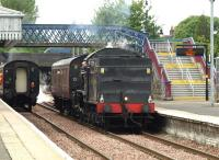 K4 no 61994 <I>The Great Marquess</I> at Stirling on 13 May 2011 prior to joining forces with Black 5 no 45231 <I>The Sherwood Forester</I> standing at the platform on the left. The pair then headed off to Boness with their service coaches in preparation for the SRPS <I>West Highlander</I> railtour to Fort William the following day. [See image 34077]<br><br>[Brian Forbes&nbsp;13/05/2011]