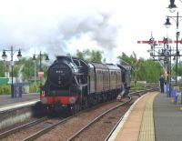 45231 <I>Sherwood Forester</I> (rear) and 61994 <I>The Great Marquess</I>, with service coaches in between, leave Stirling for Boness on 13 May 2011. [See image 34081]<br><br>[Brian Forbes&nbsp;13/05/2011]