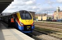 An East Midlands train bound for St Pancras stands at Derby on 14 May 2011. <br> <br><br>[Peter Todd&nbsp;14/05/2011]
