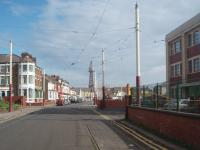 The little used but at one time essential emergency access route to Blackpool (Rigby Rd) Tram Depot. This is the view north along Blundell Street at the end of which the line turns left along Princess Street to access the promenade. This link would be used if something was blocking the main depot access route along Lytham Road. The building on the right is the Blackpool Transport Services main office and the depot itself is behind the camera. The emergency link was disconnected at the Promenade end in April 2013 [See image 42845] as the depot now houses only heritage vehicles.  <br><br>[Mark Bartlett&nbsp;11/05/2011]