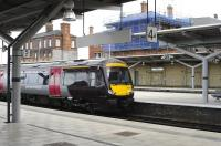 A CrossCountry service stops at Derby on 14 May on its way to Birmingham New Street.<br><br>[Peter Todd&nbsp;14/05/2011]
