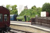 Scene at Wirksworth station on the Ecclesbourne Valley Railway on 15 May 2011. Resident Barclay 0-4-0ST No 3 powers a shuttle service utilising a DMU coach.  <br><br>[Peter Todd&nbsp;15/05/2011]