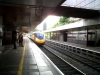 A Northbound Pendolino makes a dramatic entrance into platform 3 of Coventry station on 14 May.<br><br>[Ken Strachan&nbsp;14/05/2011]