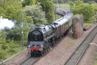 71000 Duke of Gloucester bringing up the rear of an empty stock movement to Millerhill (hauled by 66099) on 17 May passing the site of Niddrie North Junction. [See image 34122]<br> <br><br>[Bill Roberton&nbsp;17/05/2011]
