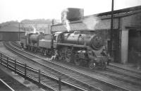 BR Standard class 2 no 76074 and J37 0-6-0 no 64539 stand together in the shed yard at Hawick on 19 July 1958.<br><br>[A Snapper (Courtesy Bruce McCartney)&nbsp;19/07/1958]