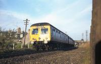 A Swindon Cross Country Class 120 DMU on an Aberdeen to Elgin service approaches the site of the former Don Street station (closed 1937) in late September 1973. <br> <br><br>[John McIntyre&nbsp;/09/1973]