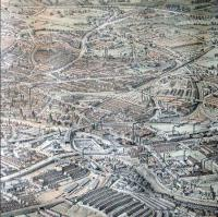 This is from an engraving of Bristol dated 1887.<br /><br> <br> Just below left of centre is Temple Meads station. Curving down then left is the B&E line to Taunton; running right is the GWR line to Bath. The triangular junction centre right is the southern end of Filton bank with the line running up to the top left. The line to St Mary Redcliffe and the docks runs left from Temple Meads just behind Brunel's original train shed.<br /><br> <br> Across the top of the picture is the Midland line to Avonmouth (I am told one of the viaducts has the wrong number of arches!), Starting just west of the triangle then running up and right is the Midland line to Gloucester.<br /><br> <br> The Midland lines are both gone, now, but a connection from Lawrence Hill remains to a smaller yard. The line to the docks has also gone but built since 1887 is the avoiding line which crosses the river on the lower right. Temple Meads station itself has grown considerably, taking over much of the adjacent square site of the old cattle market.<br><br>[John Thorn&nbsp;//1887]