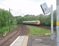 View from the west end of the Hyndland island platform on 25 May as EMU 334002 runs in on a service for Larkhall. <br><br>[Mark Bartlett&nbsp;25/05/2011]