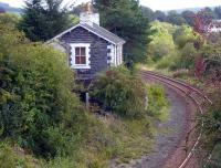 The old station at Pinwherry, seen from the north on 16 September 2010 as it slowly vanishes into the undergrowth. The loop here was removed in the 1990s.<br><br>[Colin Miller&nbsp;16/09/2010]
