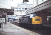 A Class 40 locomotive stands alongside the platform at Aberdeen station in April 1979.<br><br>[Ian Dinmore&nbsp;16/04/1979]