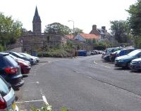 View east towards the site of St Andrews station (1887-1969) in the spring of 2011. Station road on the left now leads up to the recently rebuilt bus station, with Hope Park Church spire standing in the background. The 1865 church saw the railway station (the town's second) come and go, pre-dating it by 22 years. [See image 34565] <br><br>[Andrew Wilson&nbsp;30/05/2011]
