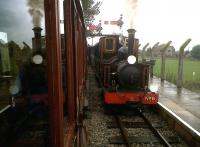 Diesel and steam crossing at Pinesway Junction on the Gartell Light Railway in May 2011. Most of this impressive 2ft gauge line has been laid on trackbed once occupied by the former Somerset and Dorset Route.<br><br>[Ken Strachan 30/05/2011]