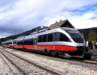 NSB Class 93 DMU at Bjorli station on the Rauma line on 2 June 2011. The train is awaiting busloads of tourists to return them to their cruise ship berthed at Andalsnes [see image 34404].<br><br>[John Robin&nbsp;02/06/2011]