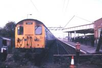 A class 302 emu stands at Clacton in May 1986.<br><br>[Ian Dinmore&nbsp;/05/1986]