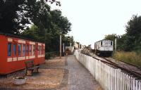 Blunsdon station on the Swindon and Cricklade Railway, viewed from the south in July 1998.<br><br>[Colin Miller&nbsp;03/07/1998]
