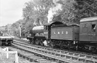 Preserved LNER B12 4-6-0 no 8572 (BR 61572) about to leave Highley on the Severn Valley Railway with a special in 1998.<br><br>[Peter Todd&nbsp;//1998]