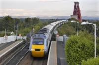 A balmy summer's evening in North Queensferry on 16 June sees the 16.00 East Coast service from Kings Cross to Aberdeen coming off the Forth Bridge and about to run through the station. The Pentland Hills form the horizon.<br><br>[Bill Roberton&nbsp;16/06/2011]