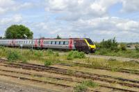 The 0700 Edinburgh - Reading CrossCountry DMU eastbound at Didcot on 16 June 2011.<br><br>[Peter Todd 16/06/2011]
