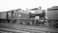 Collett 0-6-2T no 5616 stands in the yard at 87E Landore shed, Swansea, on 28 June 1959.<br><br>[Robin Barbour Collection (Courtesy Bruce McCartney)&nbsp;28/06/1959]
