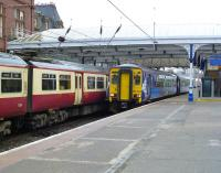 The 17.04 Kilmarnock to Stranraer leaving Ayr Platform 4 on 21 June 2011.<br><br>[Colin Miller&nbsp;21/06/2011]