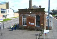 The station building on the Glasgow bound platform at Saltcoats on 20 June 2011, seen from the footbridge.<br><br>[Veronica Clibbery&nbsp;20/06/2011]