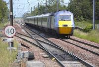 View east from Prestonpans station as the 10.00 East Coast 'Northern Lights' HST from Kings Cross to Aberdeen approaches on 20 June 2011.<br> <br><br>[Bill Roberton&nbsp;20/06/2011]