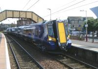 380016 about to leave Saltcoats on 20 June with a Glasgow Central - Largs train.<br><br>[Veronica Clibbery&nbsp;20/06/2011]