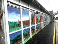 The new mural by Adele Conn that now adorns the platform side of the station building at Prestonpans, seen here on 18 September 2011. [Addendum - the mural subsequently earned 'Highly Commended' in the community art schemes category of the Community Rail Awards in October 2012].<br> <br><br>[John Yellowlees&nbsp;18/09/2011]