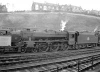 Black 5 no 44976 stands in the shed yard at Hawick in December 1957.<br><br>[Robin Barbour Collection (Courtesy Bruce McCartney)&nbsp;28/12/1957]