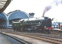 BR standard class 9F 2-10-0 no 92220 <I>'Evening Star'</I> backs down from the NRM into York station on 4 July 1976 to await the arrival of the 'Scarborough Spa Flyer'.<br><br>[Bill Jamieson&nbsp;04/07/1976]