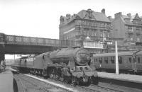 Royal Scot 46115 <I>Scots Guardsman</I> with the Saturday 9.50am Edinburgh Waverley - Sheffield Midland arrives at Carlisle on 17 July 1965. [See image 30557]<br><br>[K A Gray&nbsp;17/07/1965]