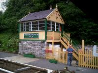 The volunteers on this preserved station have worked wonders - including the rebuilding of this signal box from half way up the stonework, which was all that was left after demolition.<br><br>[Ken Strachan 29/05/2011]