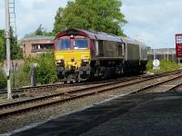 DBS 66116 leaves Killie long lyes on the 4S03 Milford to New Cumnock empty hoppers <br><br>[Ken Browne&nbsp;28/06/2011]
