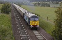 The 'Northern Belle', top'n'tailed by 47832 and 47790, nears DalgetyBay en route to Leuchars on 2 July 2011.<br><br>[Bill Roberton&nbsp;02/07/2011]