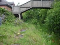 Looking north along down platform and trackbed at former Maesteg Station with complete footbridge only devoid of handrails still in situ.<br><br>[David Pesterfield&nbsp;07/06/2011]