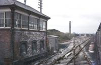 Passing Goonbarrrow Junction signal box on the Newquay branch in May 1977.<br><br>[Ian Dinmore&nbsp;/05/1977]