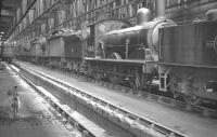Inside Cambridge shed (31A) in May 1961, with J15 0-6-0 no 65478 in the centre of the locomotive lineup.<br><br>[K A Gray&nbsp;14/05/1961]