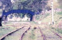 The old station at Parkend in the Forest of Dean, seen here in May 1986. The station lost its scheduled passenger services in July 1929 and the last freight ran in 1975 [see image 26111]. The station is now operated by the Dean Forest Railway Preservation Society. <br><br>[Ian Dinmore&nbsp;21/05/1986]