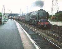 A2 Pacific no 60529 <I>'Pearl Diver'</I> picks up speed through Joppa with an up ECML train a few minutes after leaving Waverley in the summer of 1959.  <br><br>[A Snapper (Courtesy Bruce McCartney)&nbsp;11/07/1959]