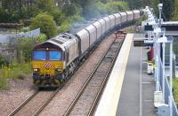 Euro Cargo Rail badged 66071 passes Alloa Station on 13 July with the 4J06 empties to Hunterston.<br> <br><br>[Bill Roberton&nbsp;13/07/2011]