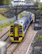 158871 leaves Alloa on 13 July with the 11.43 to Glasgow Queen Street.<br> <br><br>[Bill Roberton&nbsp;13/07/2011]