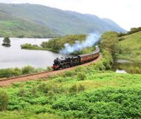Black 5 no 45231 <I>The Sherwood Forester</I> crosses the small causeway at the west end of Loch Eilt near Lochailort with the morning 'Jacobite' on 13 July 2011.<br> <br><br>[John Gray&nbsp;13/07/2011]