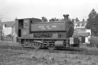 Ex-Granton Gas Works Barclay 0-4-0ST stands at the north end of Boat of Garten station in 1974 during a non-operational period on the Strathspey Railway. <br> <br><br>[John McIntyre&nbsp;15/06/1974]