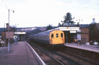 A <I>'Thumper'</I> on 'Route 66'. DEMU no 1101 (205001) standing alongside platform 2 at Oxted station in March 1986. The unit has since been preserved and is currently undergoing restoration work on the East Kent Railway.<br><br>[Ian Dinmore&nbsp;/03/1986]