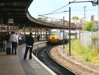An arrival from the south entering the most westerly of York's platforms on 29 June. The train in this case is the 'East Coast' 10.00 Kings Cross - Aberdeen and the platform is no 11. <br><br>[John Furnevel&nbsp;29/06/2011]